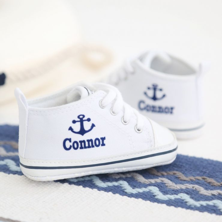 Personalized Anchor High Tops - White