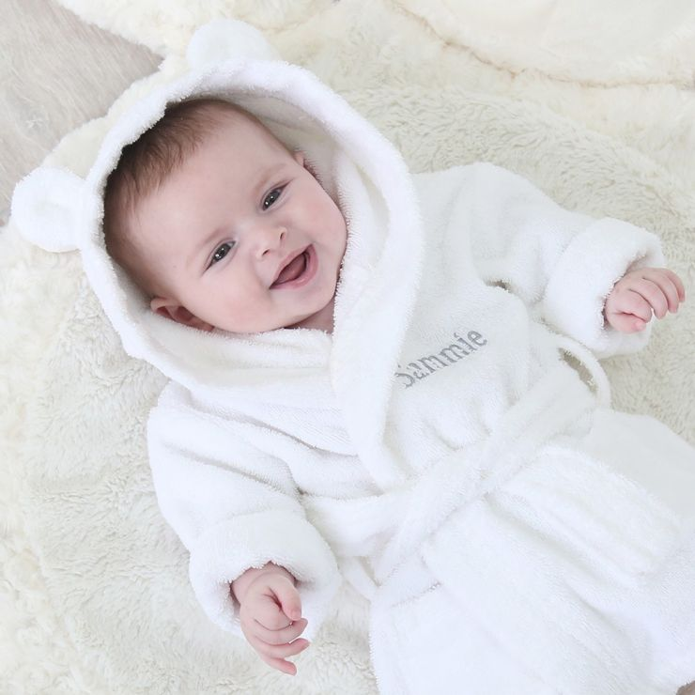 Personalised White Hooded Towelling Robe Model