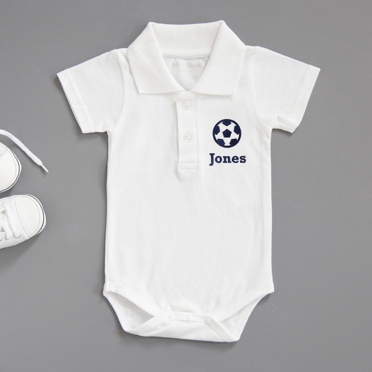 Personalised Football Polo Bodysuit - White