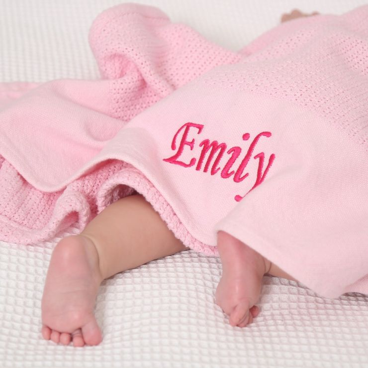 Personalised Pink Cellular Blanket
