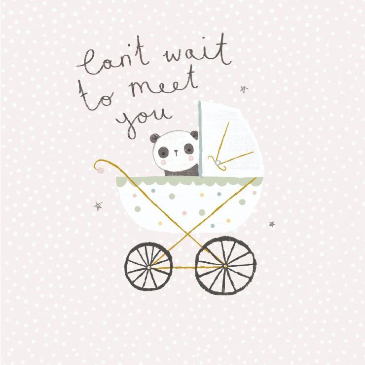 Personalised Panda Design New Baby Greetings Card