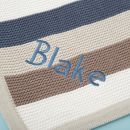 Personalized Blue Stripe Knitted Blanket Personalization