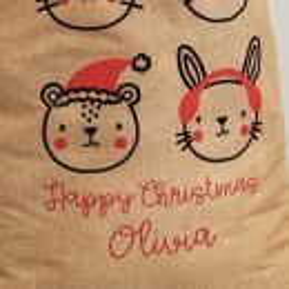 Personalized Festive Animal Hessian Christmas Sack - Personalization
