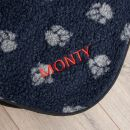 Personalised Navy Paw Print Pet Blanket - Personalisation