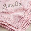 Personalized Pink Star Jacquard Blanket
