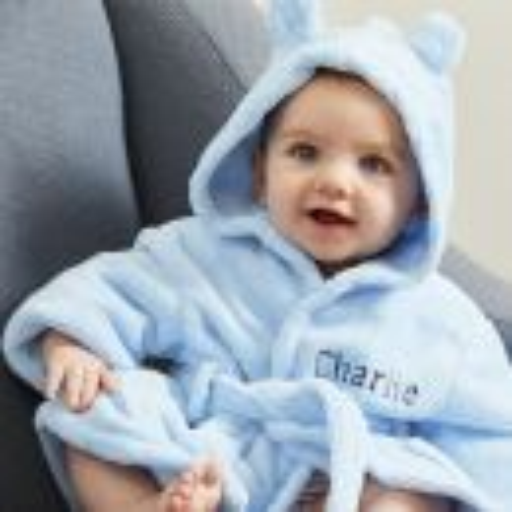 Personalised Blue Hooded Fleece Robe Model