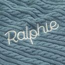 Personalized Navy Blue Fur Lined Cable Knit Blanket Personalization
