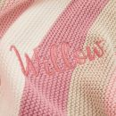 Personalized Pink Stripe Knitted Blanket Personalization