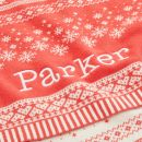 Personalized Red Fairisle Christmas Blanket Personalized