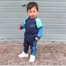 Personalised Blue Colour Block Tracksuit Model