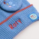 Personalised Blue Knitted Hat and Mittens Set