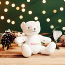 Personalised Christmas Print Organic Jersey Bear Soft Toy Styled