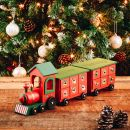 Personalised Green Wooden Advent Train Styled