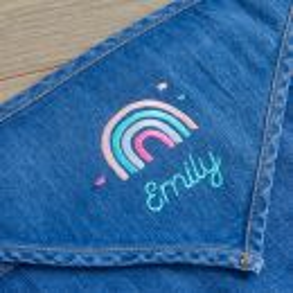 Personalised Rainbow Design Denim Bandana Bibs (2pk) Personalisation