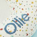 Personalised Purflo 'Scandi Spot' Baby Bed and Swaddle to Sleep Bag Set 3-9 Months Personalisation