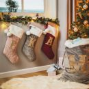Personalized Embossed Gray Velvet Stocking Styled